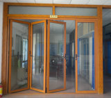 Australiano doble Standard Hidden Mesh Aluminium Folding Door de Glazed 6mm+25A+6m m