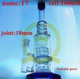 Tubo de agua de cristal azul embriagador del cubilete 1bubble del tabaco de la corona T15 del reciclador del color del tazón de fuente del arte de los tubos de cristal de cristal altos de cristal del cenicero