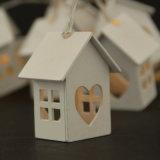 Luz blanca de la cadena de la decoración de la Navidad de la casa de la dimensión de una variable de madera del corazón del LED