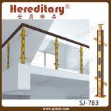 アーク階段(SJ-751)のための屋内アルミニウムおよび木ガラス手すり