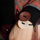 O cabelo elástico da faixa de borracha do preto da madeira redonda une Headwear