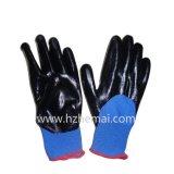 NBRの手袋の半分はニトリルの手袋の安全作業手袋を浸した