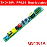 programa piloto sin aislar de la luz del tubo de 6-20W el Thd<10% Hpf con EMC QS1301A
