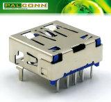 Verbinder USB-3.0, Serie a, 9 Positionen, rechtwinkliger BAD Typ, aktuelles Rating~1.8A 250VAC Min. dem Maximum an des Kontakt-Resistance=30mohm