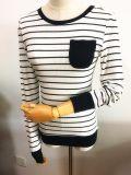 Frauen-Form-Kleid-runder Stutzen-langes Hülsen-Streifen-T-Shirt