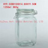 frasco de vidro quadrado do alimento 1250ml, recipiente de alimento do selo com tampa de vidro