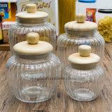 Fabrik-transparenter Nahrungsmittelsüßigkeit-Großhandelsspeicher-Glasflasche (100043)