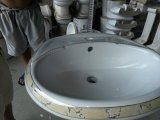 Bacia de lavagem decorativa dourada cerâmica do projeto agradável