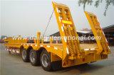 remorque jaune de 3-Axles Lowboy semi avec l'échelle