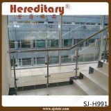 Balaustrada de vidro decorativa interna dos trilhos da escada do aço inoxidável da escadaria (SJ-S1050)