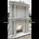 Camino bianco Mfp-457 di Carrara del camino di pietra di marmo del granito