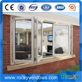 Алюминиевое двойное застекленное стеклянное складывая окно с конструкцией решетки