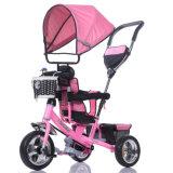 Niños y triciclo del pie del bebé con los pabellones y la manija (OKM-675)