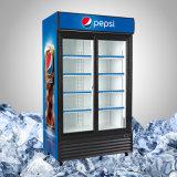 Refrigerador vertical com a porta de vidro de deslizamento dobro