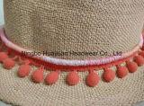 Шлем сторновки Fedora Tassel полосы 100% бумажной сплетенный рукой