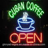 防水ネオンLEDのコーヒー開いた印