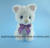 Juguetes rellenos del gato de la felpa con la cinta púrpura