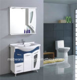 Белый пол - установленная тщета шкафа ванной комнаты PVC, высокорослая мебель