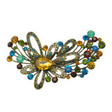 Broche de bijoux en alliage de zinc strass fleur big