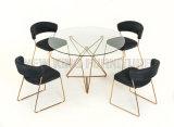 家のガラス円形のダイニングテーブル(NK-DTB012)の現代的な簡単な家具