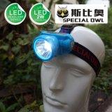 лучей светов батареи лития Headlamp 1PC 1W 2W СИД свет перезаряжаемые мощных плавая, удя свет