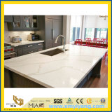 Kitchen 의 섬을%s 주문 White Calacatta Artificial Quartz Stone Countertop