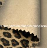 Жаккард леопарда напечатал почищенную щеткой ткань замши для одежды/мешка/ботинок