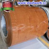 PPGI Prepaintedクルミの木の穀物パターン鋼板