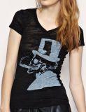 Queimar a camisa impressa do T T das senhoras do projeto da forma da tela algodão feito sob encomenda