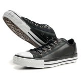 Low Cut Black Leather White Rubber Sole Skateboard Vulcanized Shoes