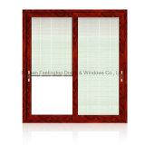 окно алюминиевого сплава 5mm двойное стеклянное сползая с сетью штарки (FT-W126)