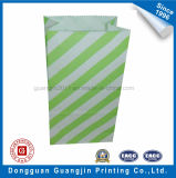 Color Purple Stripe Printed Paper Food Packaging Bag avec dentelé Bord