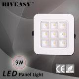 luz del panel de la MAZORCA LED del poder más elevado de la esquina redonda 9W con Ce y RoHS