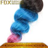 Drei malaysische blaue Haar-Extensionen der Ton-Menschenhaar-Webart-100%