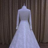 Spitzeapplique-Hochzeits-Kleid mit langem Hülsen-T-Shirt