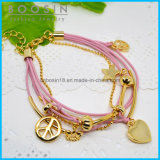 Pink Wire Leather Chain Star Charm Bracelet # 31461