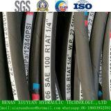 Boyau hydraulique en caoutchouc de pétrole flexible tressé du fil d'acier SAE100