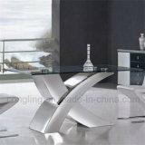 Neue Form-Fuss-Spitzenglasspeisetisch des Entwurfs-X für Verkauf
