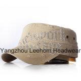 La mode Blingbling d'Applique de Rhinestones a affligé le chapeau militaire lavé d'armée