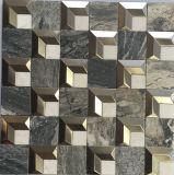 Tuile de mosaïque de marbre en pierre normale mélangée d'acier inoxydable (FYSM109)