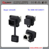 Пластмасса RJ45 Connector 8p8c Panel Mount Waterproof CAT6 RJ45 Connector/RJ45 Plugs