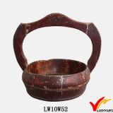 Vendimia antigua Recyled rústico que cuelga la cesta de madera del almacenaje con las manetas