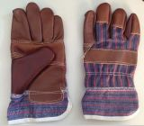 Travail raccordé foncé Glove-4001 de cuir de meubles de paume de Brown