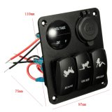 3 Gang LED Rocker Switch + Voltmeter + 2 USB Socket Panel Marine Boat RV Breaker