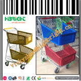 Supermarkt-Plastikeinkaufen-Laufkatze mit Metallfuß