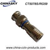 Rg59ケーブルのための防水CCTVの男性の圧縮BNCのアダプター(CT5078S/RG59)