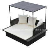 Queen Sized Outdoor Patio Rattan Day Bed com guarda-sol