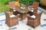 5 Pieces Garden Rattan Dining Table Set Include Seat Cushion
