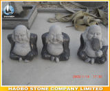 Statue riante en pierre de Bouddha fabriquée à la main