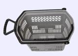 Paniers à provisions en plastique de roulement de supermarché en gros avec les roues 09065